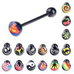 Wholesale 100Pcs Black Soft Logo Designed Tongue Ring labret ring Noctilucent Acrylic Tongue Nipple Bar Ring Barbell Body Piercing BC120