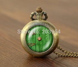 Wholesale New movie hobbit door hole cozy bilbo baggins lotro quartz Pocket Watches Necklace lord of the rings locket steampunk