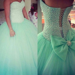 Mint Green Beaded Pearls Ball Gown Quinceanera Dresses 2019 Sweetheart Neckline Sleeveless Lace Up Back Lovely Bow Cheap Prom Pageant Gowns