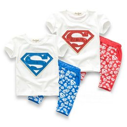 Wholesale Superman Boys harem sets summer style kids baby Short sleeve Tshirt Harem Pants children Tracksuit Clothing Suit cheap