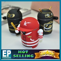 Wholesale The android robot bluetooth mini speaker Beijing Opera Ninja baseball style support FM SD card playback Free DHL