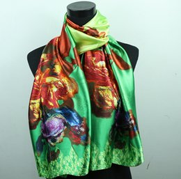 1pcs Red Purple Rose Rose Green Women's Fashion Satin Oil Painting Long Wrap Shawl Beach Silk Scarf 160X50cm