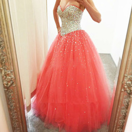 Shiny Coral Quinceanera Ball Gowns With Corset Heavy Sequin Beaded Ruched Tulle Debutante 16 15 Girls Masquerade Party Prom Dress Cheap