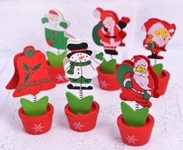 Wholesale Free Ship Mixed Korean Wooden Christmas Series Name Card Clip Holder Memo Message Clip Wedding Favors