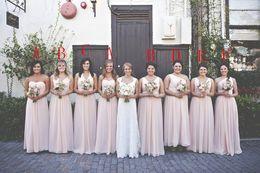Classic Summer Cheap Beach Bridesmaid Dresses Blush Pink Chiffon Bridesmaids Gowns Sheath V Neck Sweetheart Long Wedding Party Maid of Honor