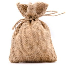 Wholesale Natural Burlap Drawstring Bags x9cm x10cm x12cm x15cm x18cm Jewelry Bag Rustic Wedding Gift Hessian Pouches Favor Holders