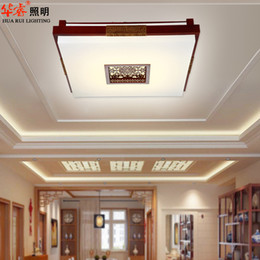 Wholesale boutique LED red chinese style classical carved sheepskin indoor lighting solid wood wooden lamp hotel lobby ceiling lamp brief balcony