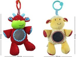 Wholesale cow sheep baby bed stroller hanging rattle toy pull bells music toy safety mirror plush toy
