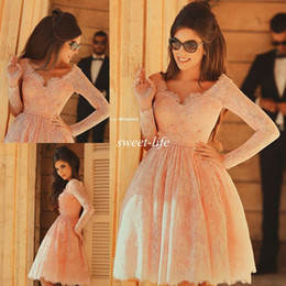 Free Shipping 2019 Cheap Short Homecoming Dresses Lace with Long Sleeves A-Line Knee Length Beads Party Gowns Kids 8th Graduation Prom Dress