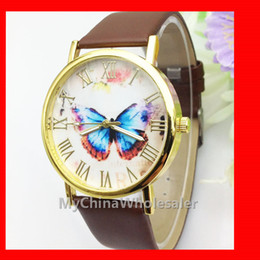 Wholesale 6 Multi Colors Dress Watches New Leather Band Stylish Butterfly Fashion Women s Wristwatches Rome Numbers no Scale Geneva Watch Quartz Auto