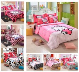 Wholesale Home Textiles New style Cartoon Character kitty bedding set Bed bed Sheet Quilt Duvet Covers PillowCase Bedclothes Bed Linen