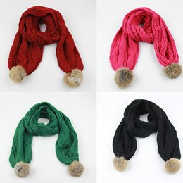 140cm Children's Winter Knitted Rabbit Fur Scarf Winter Pom Poms Scarves For Kids 10 Colors Available Free Shipping