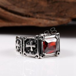 Red CZ Stone Stainless Steel Cross Mens Punk Design Biker Gothic Ring