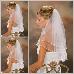 Free Shipping Buy Glamorous One Layer White Or Ivory Bridal Veils Cheap Hot Sale High Quality