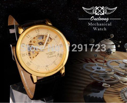 New Water Proof Mens Luxury Golden Mechanical Leather Band Dress Gift Analog WatchPocket Sport Wrist Watch Unisex Gift