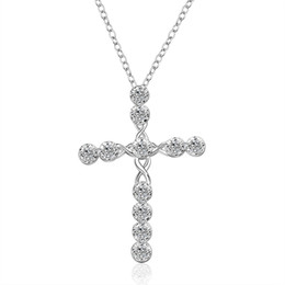 hot sale 925 Sterling Silver fashion CZ Diamond crystal engagement wedding women jewelry charms cross cute necklace