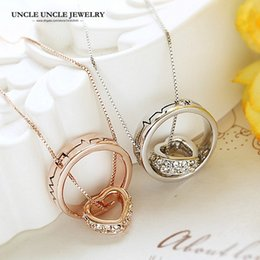 Rose Gold Color Round Heart Element Rhinestones Heartbeat Rhythm Design Separable Woman Necklace Wholesale