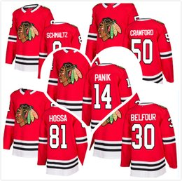 2018 New Chicago Blackhawk Star14 Richard Panik 81 Marian Hossa 50 Corey Crawford 8 Nick Schmaltz 30 Ed Belfour Hockey Jerseys Red Stitched