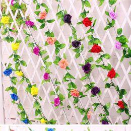 Simulation Plant 9 Roses Wholesale Flower Vine High-Grade Simulation Silk Rose Flower Hanging Garland Wedding Home Décor Artificial Flower