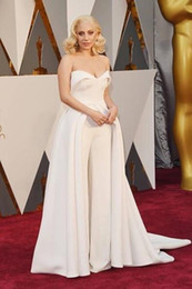 Wholesale 2016 Oscar Lady Gaga Celebrity Dresses All White Evening Dresses Long Backless Court Train Eelgant Evening Wear Pageant Banqurt Party Gowns