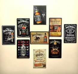 Wholesale 9pcs Jack Daniel Bar Dining Room Wall Art Vintage style metal paintings cm Retro wall art beer sign decoration