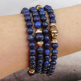 SN0237 108 Mala Bracelet Buddha Wrap Yoga Bracelet Blue Lapis Lazuli Bracelet Meditation Yoga Bracelet Free Shipping
