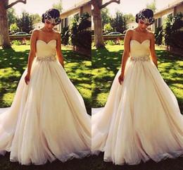 Classic Crystal Beaded Wedding Dresses Summer Sweetheart Sweep Train Princess A Line Empire Bridal Gowns Custom Made Luxury Wedding