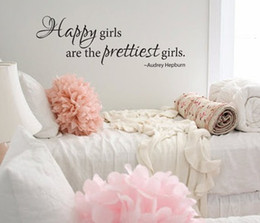"""Wholesale-"""" Happy Girls Are The Prettiest Girls """" Quote Vinyl Wall Decal Sticker"""
