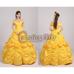 Wholesale Custom Made Adult Women s Deluxe Princess Belle Dress Costume From Beauty And the Beast Halloween Costume