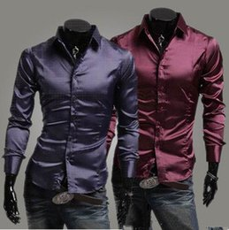 Wholesale Mens Formal Shirts Long Sleeve Cotton Lapel Casual Flim Slim Shirt Three Colors Four Sizes Blink Bright Surface Solid Color