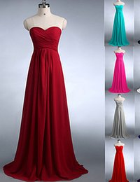 2019 Cheap Long Designer Hot Bridesmaid Dresses A-line Sweetheart Wedding Party Dresses Floor Length Elegant with Ruffle Chiffon