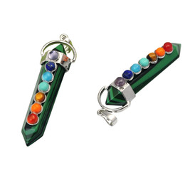Wholesale Malachite Hexahedron Reiki Point Pendants with 7 Chakra Crystal Gemstone for Women men jewelry necklace