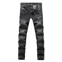 Wholesale Brand New Men Designer Jeans Balmain Luxury High Quality Balmain Jeans Red Green Gray color Pleated BALMAIN Men Denim Pants