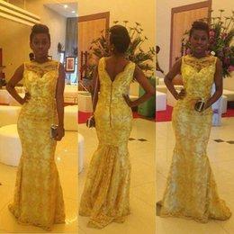 Wholesale 2015 Aso Ebi Style Nigerian Long Evening Dresses Illusion Lace Bateau Neck Mermaid Sweep Train Bella Naija Traditional Wedding Gowns