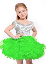 Hot beaded bateau neck dance party mini short infant toddler kids cupcakes Kids Ball gowns Girls Party Prom Dresses Girls Pageant Dress