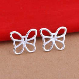Wholesale Plated sterling silver earrings jewelry trade show butterfly earrings Korean popular spot