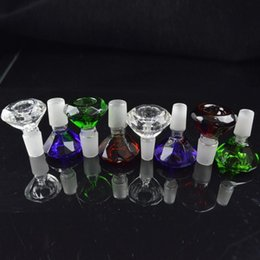 Wholesale 14mm mm Heady Colored Male Glass Bowls Diamond Design Water Pipes Bongs Bowls High Quality Multicolor Cute Glass Bowl for Smoking Sale