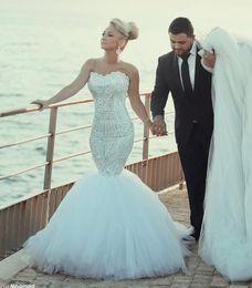 New Mermaid Crystal Wedding Dresses Sleeveless 2016 Sweetheart Strapless Bridal Gowns Bride Dresses Long Train Custom Made