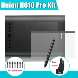 Wholesale Huion H610 Pro quot x quot Graphics Drawing Digital Tablet LPI Kit Protective Film Parblo Two Finger Glove Extra Nibs