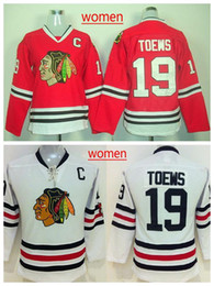 uniforme rouge pour femmes Promotion Femmes # 19 Toews Blackhawks Hockey Jersey Chandails Emboridered Hockey Wears Red Chandails Meilleur uniforme de hockey Hockey Apparel Cheap