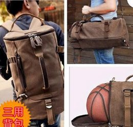 Wholesale Cylinder Body - Wholesale-Canvas recreation basketball bag one shoulder Shoulders cylinder package Travel multi-function handbags free shipping