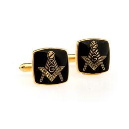 Wholesale Golden Freemason Cufflinks for Men Black Resin Cover Dress Decoration0496