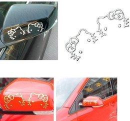 Wholesale 3D cute cat golden slivery metallic color PVC car sticker auto parts automobile accessory car decoration