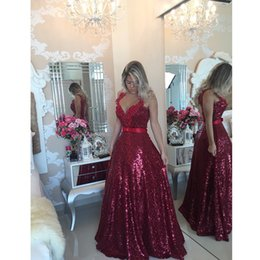 Burgundy Sequin Evening Gowns 2018 A Line Sexy Backless V Neck Evening Dresses Plus Size Red Carpet Formal Prom Dresses With Beads Custom