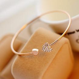 24pcs heart Gold Rhinestone Love Heart Bangle Cuff Bracelet Jewelry