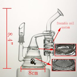 Wholesale glass bong freezable coil oil rigs quot water pipes recycler glass bongs good function mm joint giving dome and nail