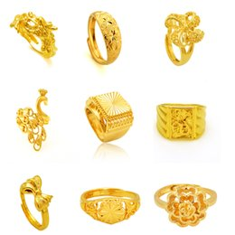 Engagement Rings Gold Fashion 24K GP Gold Plated Mens&Women Jewelry Ring Yellow Gold Golden Finger Ring