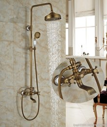 Wholesale New Bathroom Antique Brass Rainfall Shower Faucet Bathtub With Blue And White Porcelain Wall Cover Tub Mixer