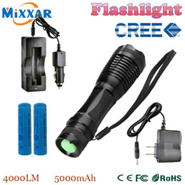Wholesale zk20 e17 CREE XM L T6 LED LM E17 Aluminum Torches Zoomable LED Flashlight Torch Lamp contain two batteries two chargers