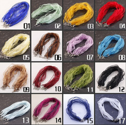 18 inch 100pcs lots organza ribbon chain necklace Strap cords mixed colors (18 colors you can pick colors ) Free Shipping